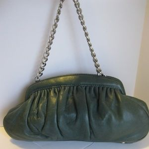 Banana Republic Green Leather Chain Purse/Clutch